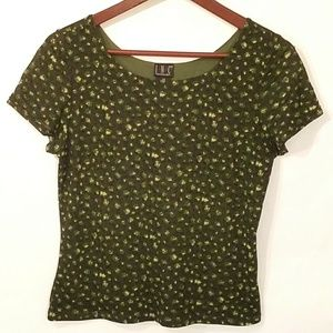 INC Green Floral Beaded Stretchy Top